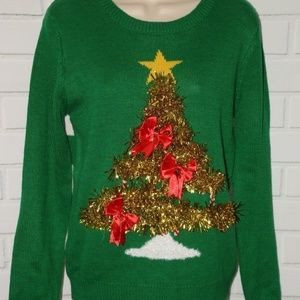 Sz M 7/9 Pop Out 3D Tinsel Tree Ugly Christmas